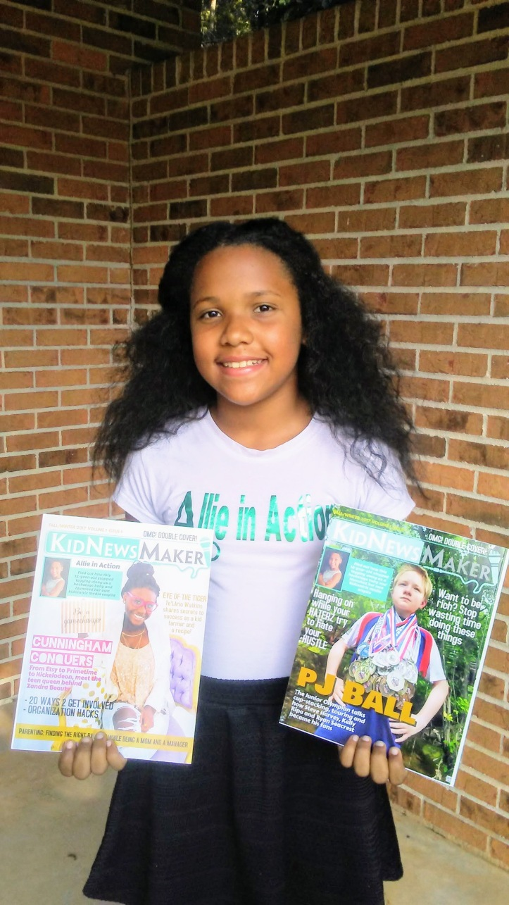 Alejandra Stack at 11 with her publication KidNewsMaker
